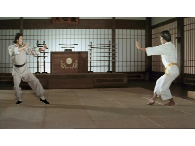 A kung fu fighter and a karate master face off in a dojo